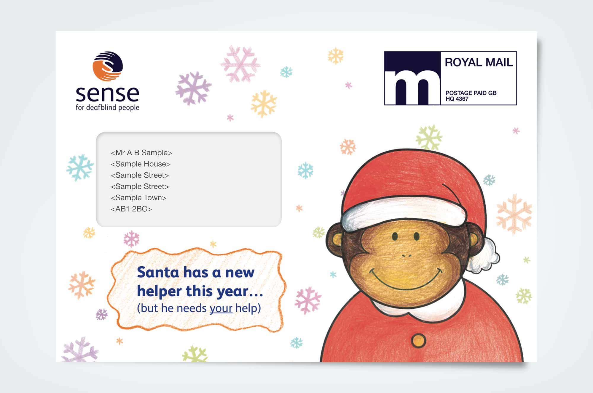 The outer features a picture of Teddy, with the line 'Santa has a new helper this year…(but he needs your help)'