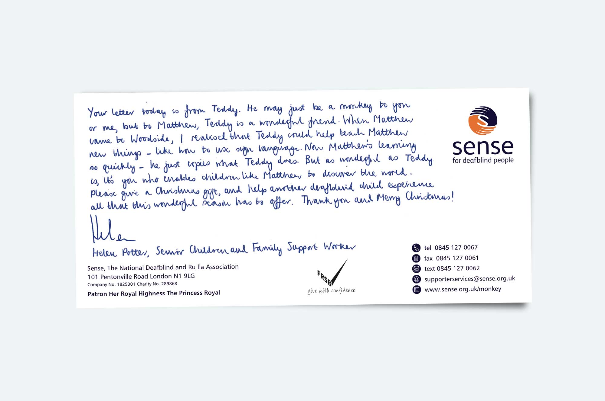 Donors also receive a comp slip from Sense's Children and Family Support Worker, explaining more about Matthew and Teddy.