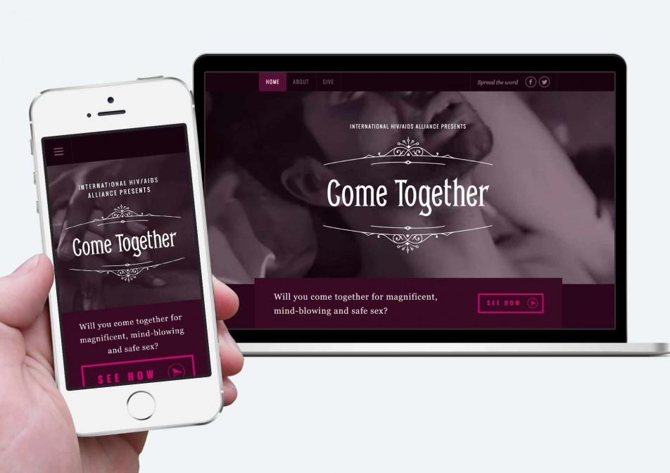 The Come Together responsive website, mobile and desktop view